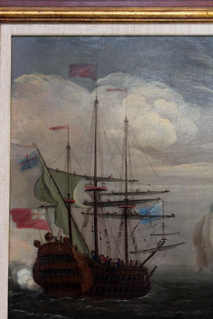 English oil on canvas maritime scene - 3