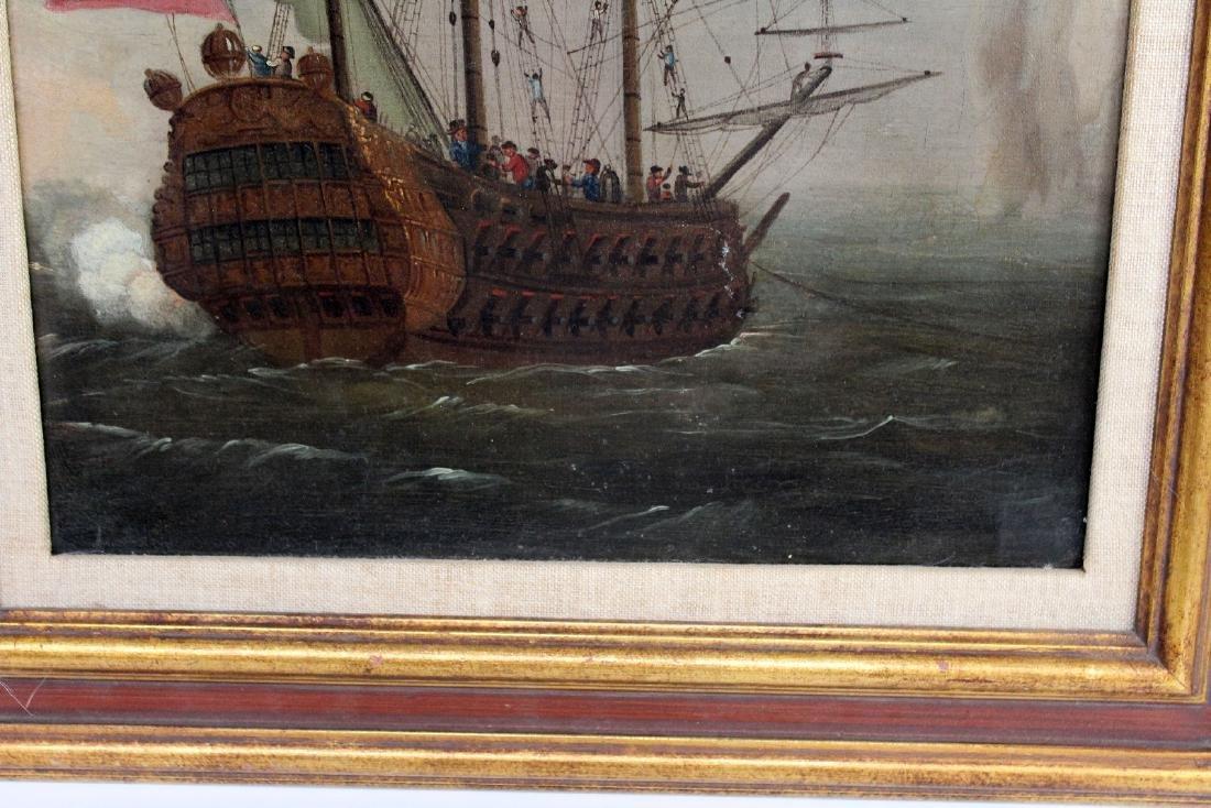English oil on canvas maritime scene - 4