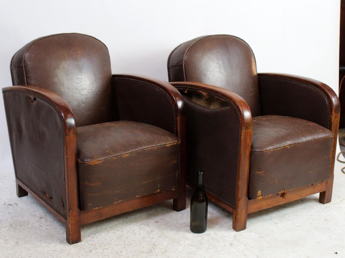 Pair French Art Deco leather club chairs - 2