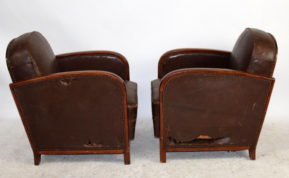 Pair French Art Deco leather club chairs - 3