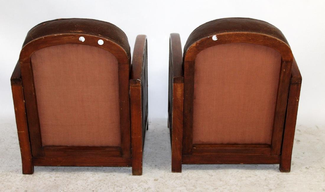 Pair French Art Deco leather club chairs - 4