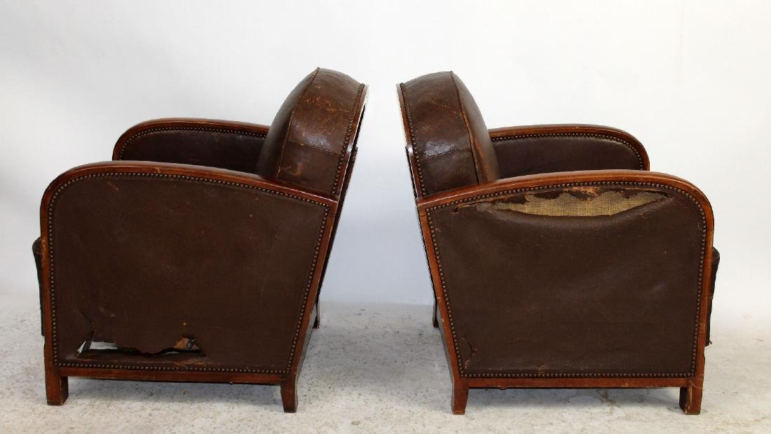 Pair French Art Deco leather club chairs - 5
