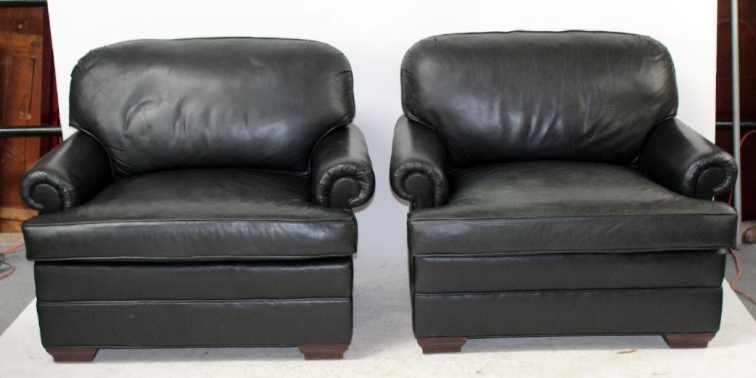 Pair of oversize leather club chairs