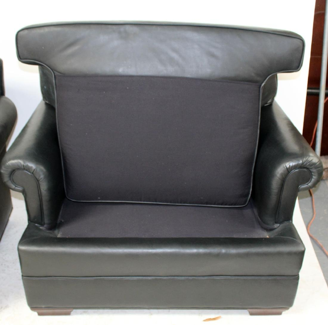 Pair of oversize leather club chairs - 9