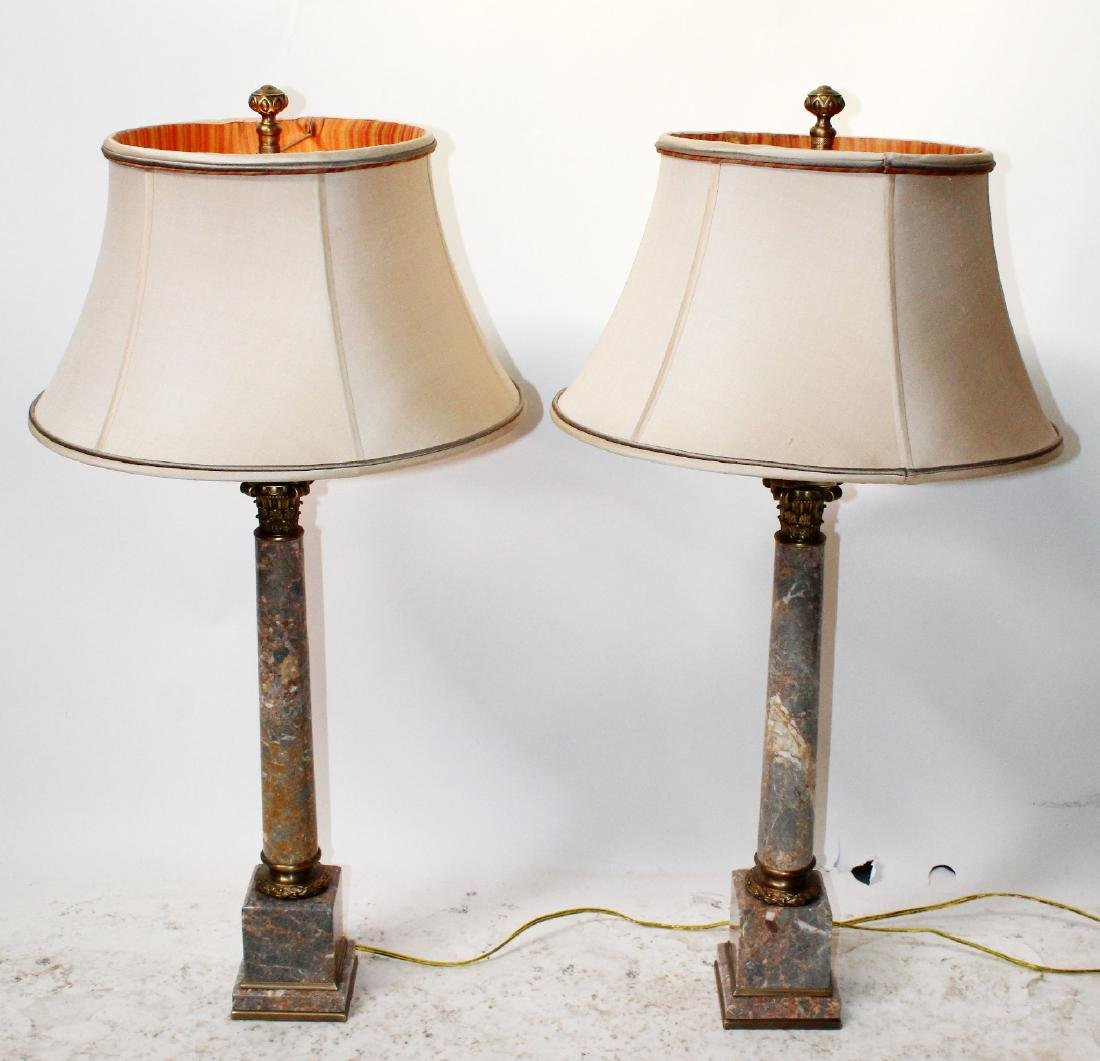 Pair marble column lamps