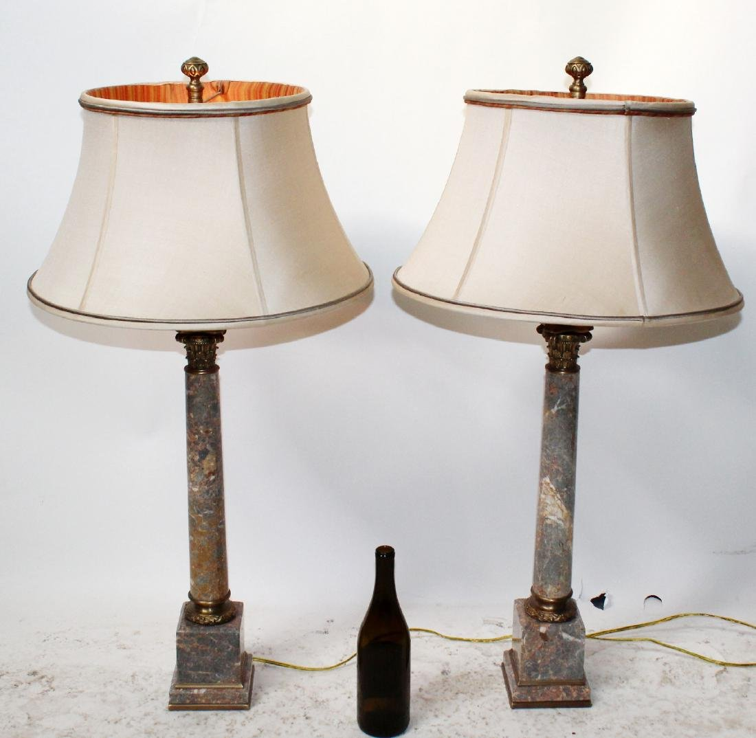 Pair marble column lamps - 2