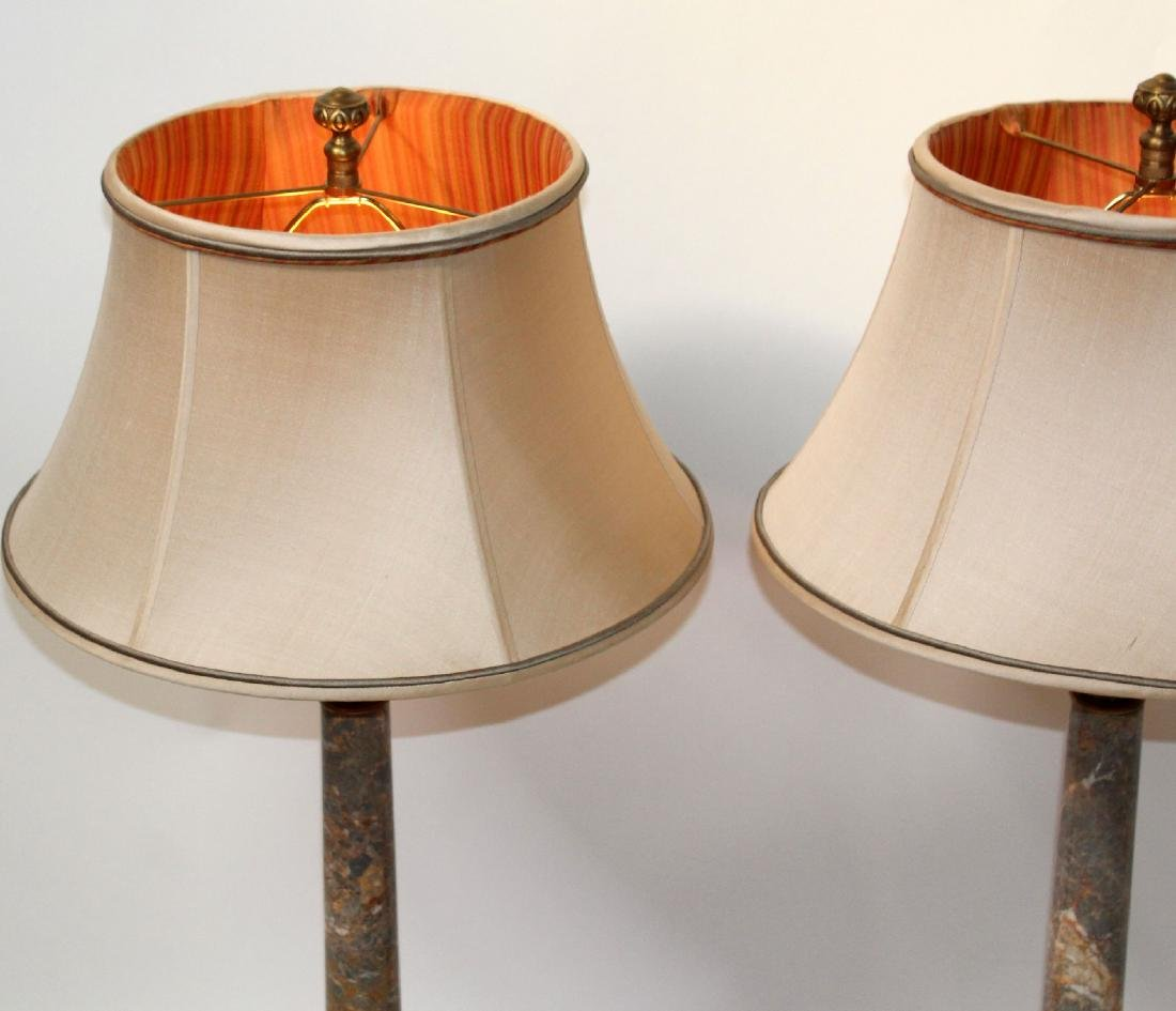 Pair marble column lamps - 5