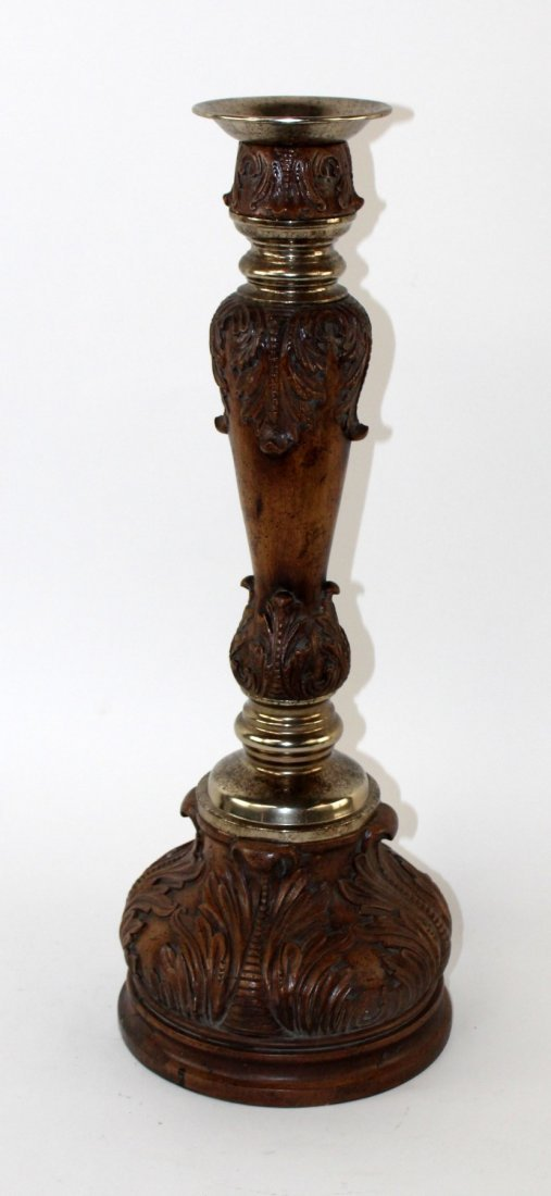 Maitland Smith acanthus scroll pillar candlestick