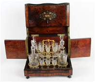 French Napoleon III tantalus set in burled elm box