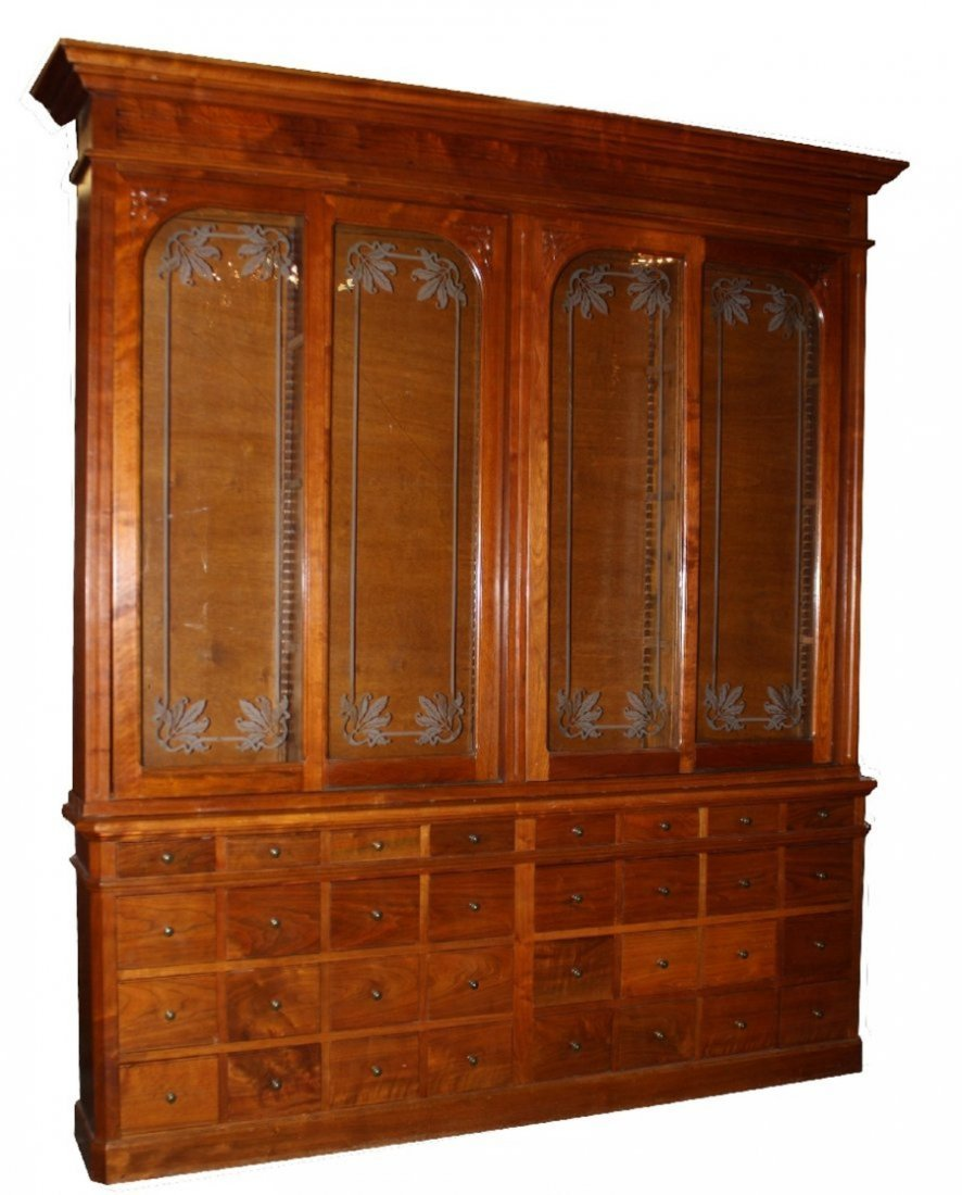 French Art Nouveau apothecary cabinet