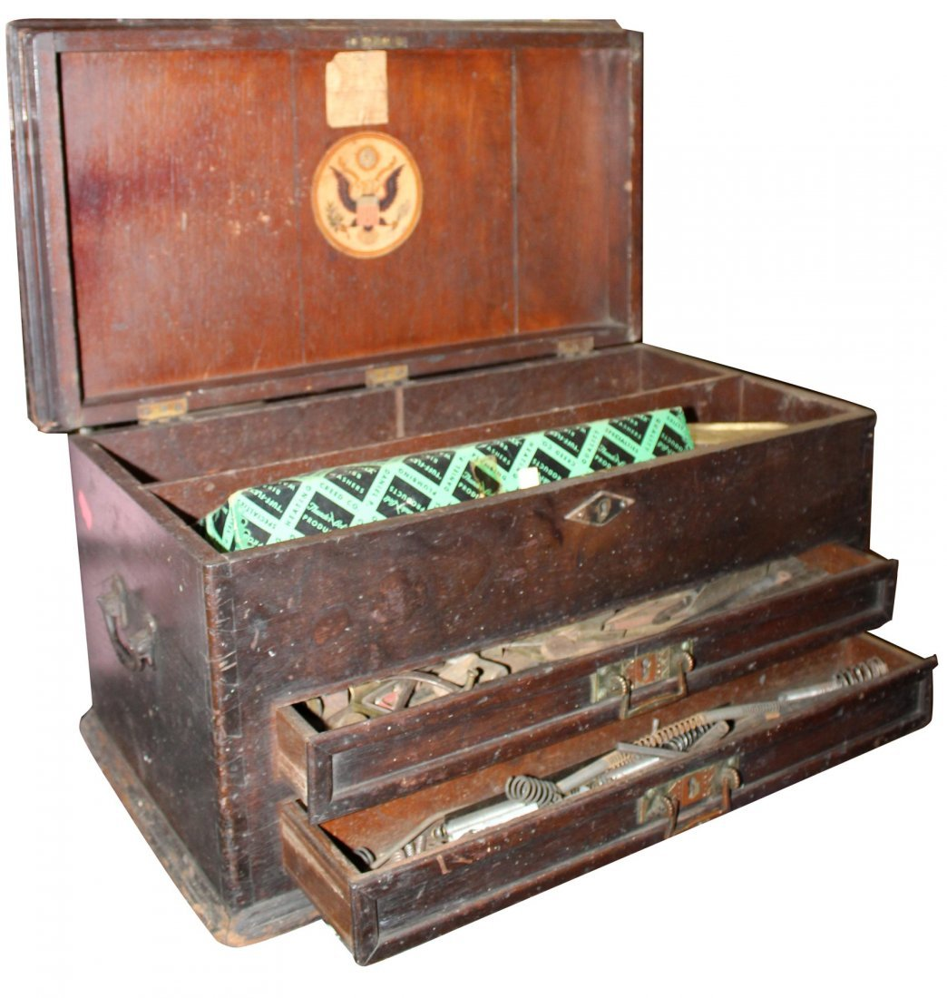 Antique American machinist's tool chest