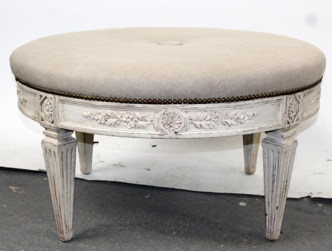 Round upholstered ottoman on legs - 5