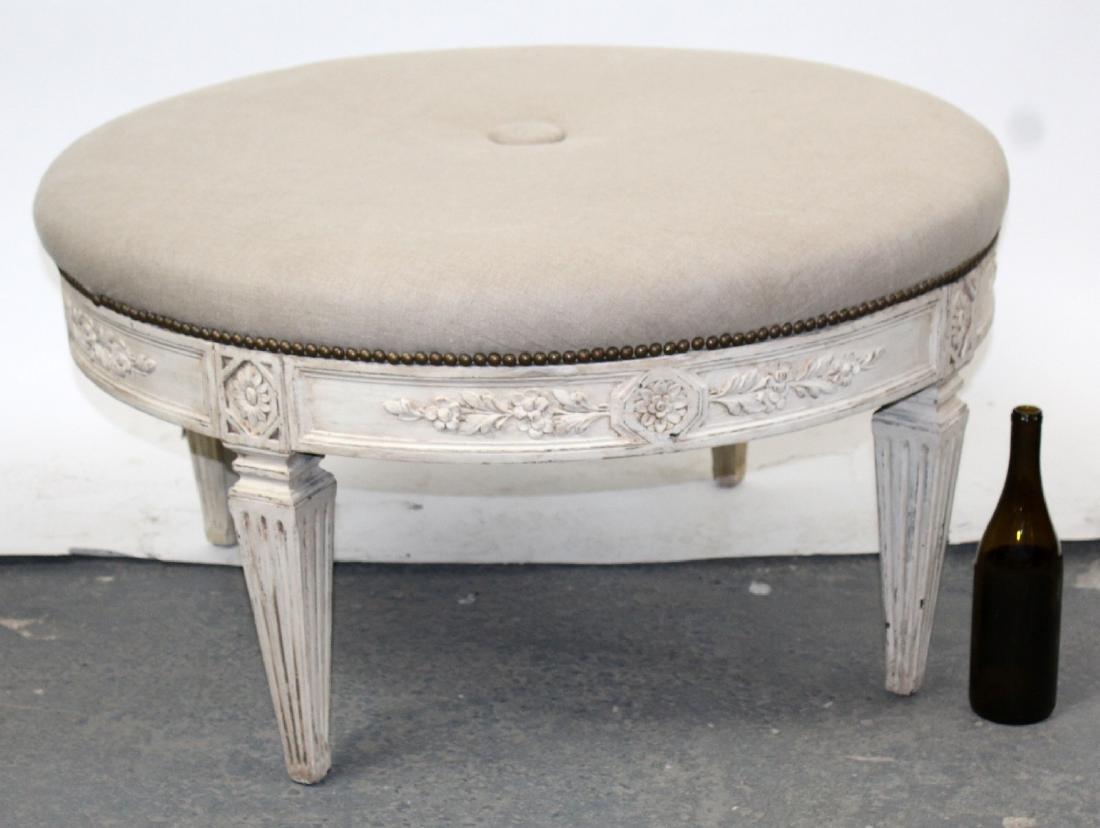 Round upholstered ottoman on legs - 2