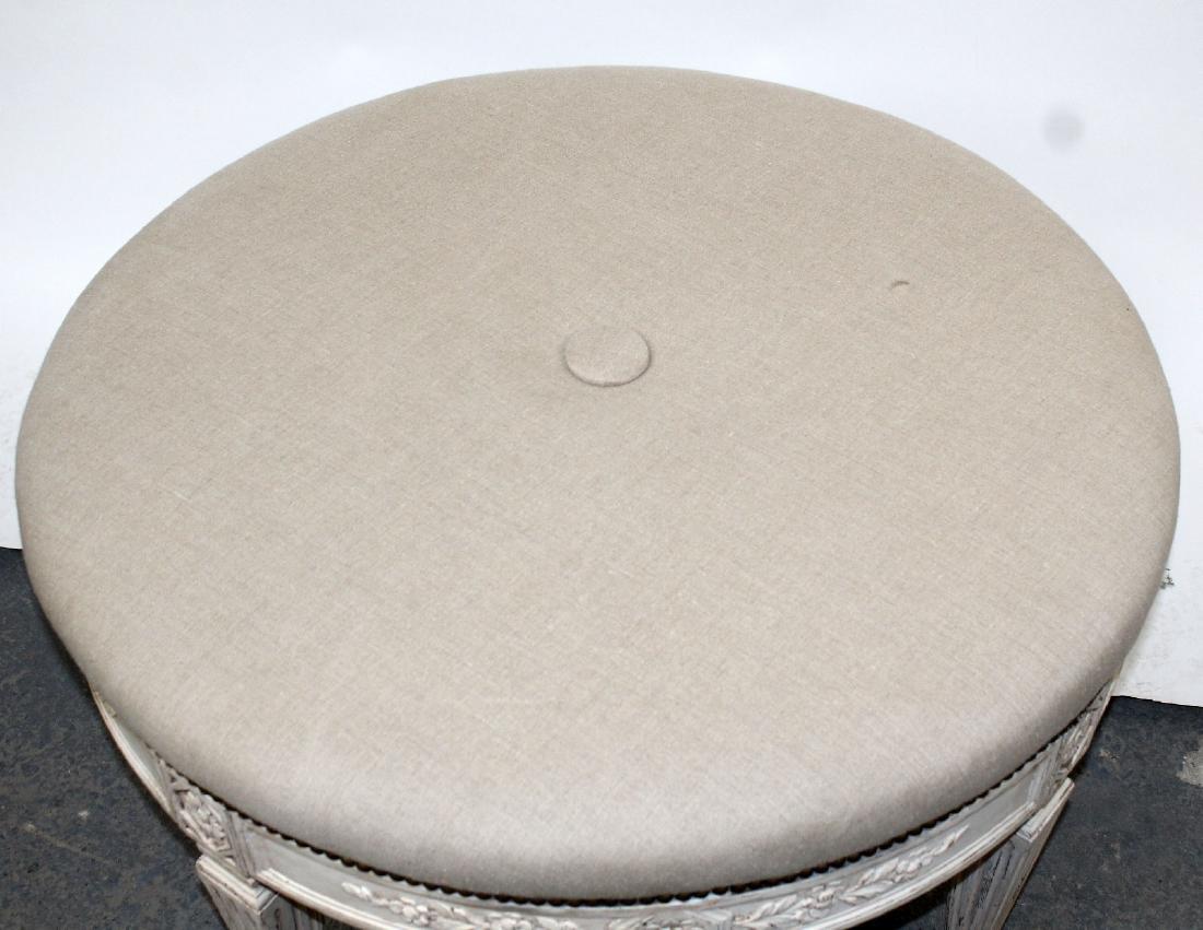 Round upholstered ottoman on legs - 4