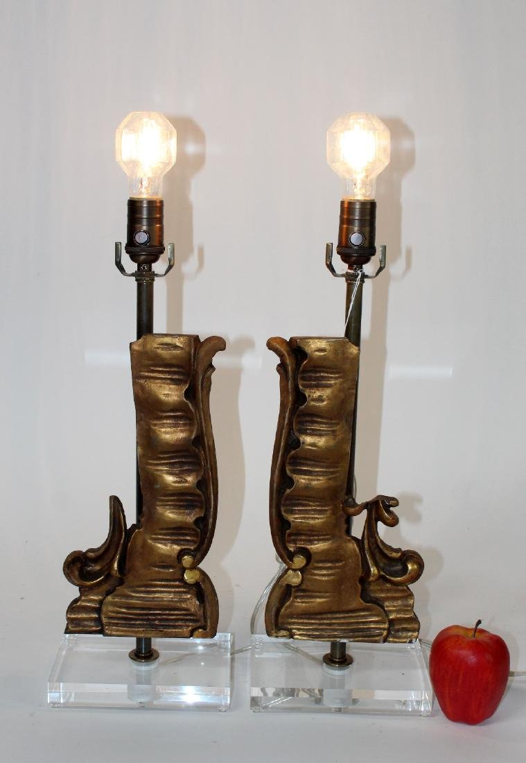 Pair of wooden fragment lamps - 4
