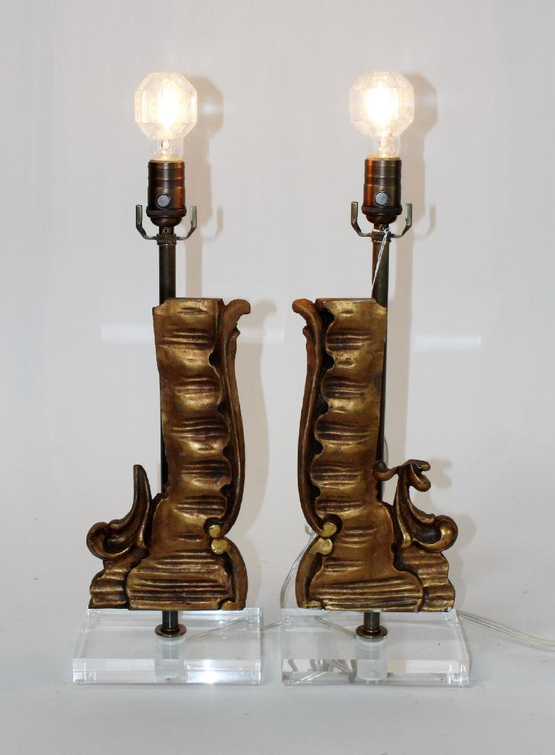 Pair of wooden fragment lamps