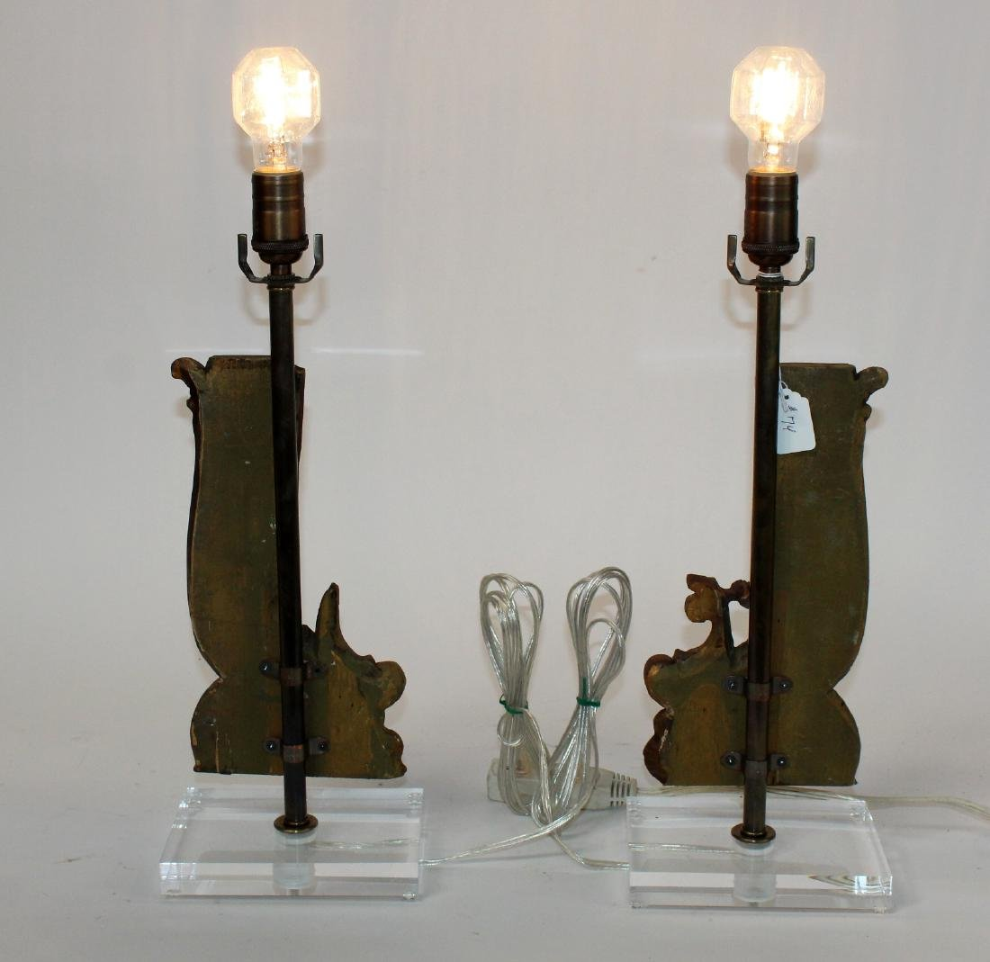 Pair of wooden fragment lamps - 2