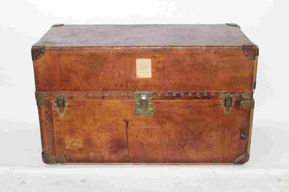Antique Louis Vuitton leather wardrobe trunk
