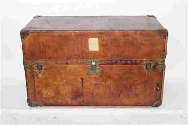 Antique Louis Vuitton leather wardrobe trunk