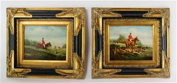 Lot of 2 English style hunt scene paintings
