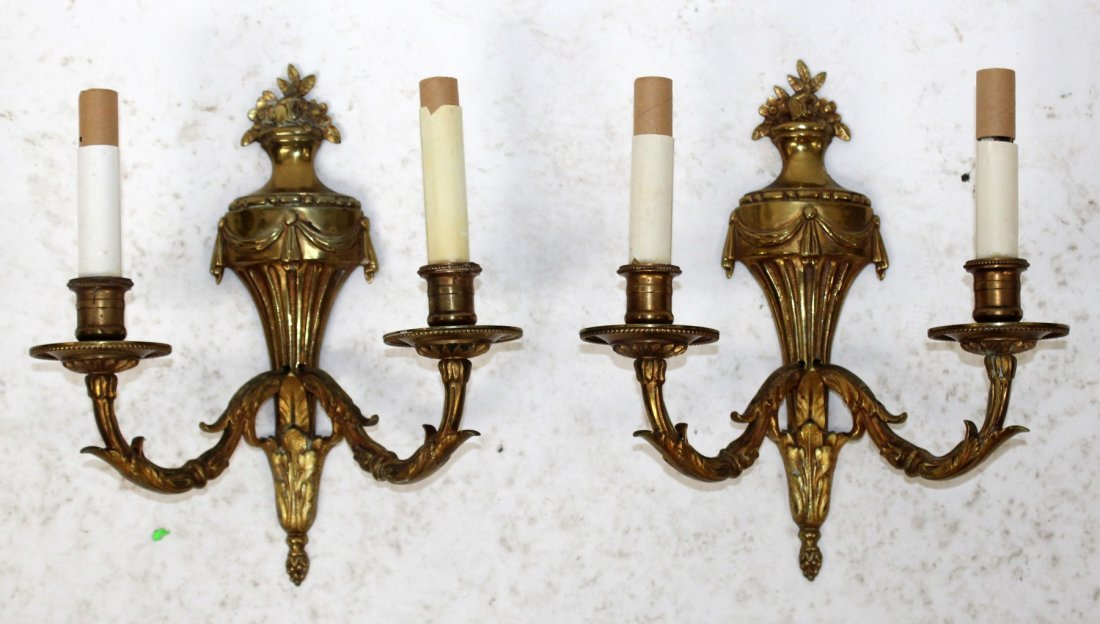 Pair French Louis XVI style brass sconces