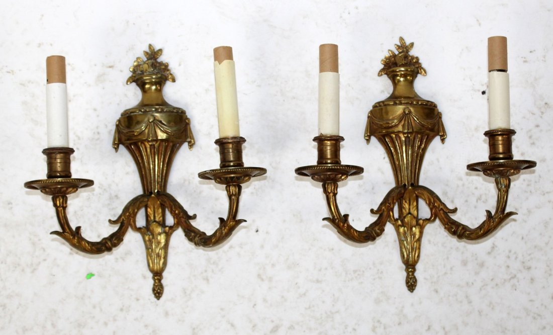 Pair French Louis XVI style brass sconces - 2