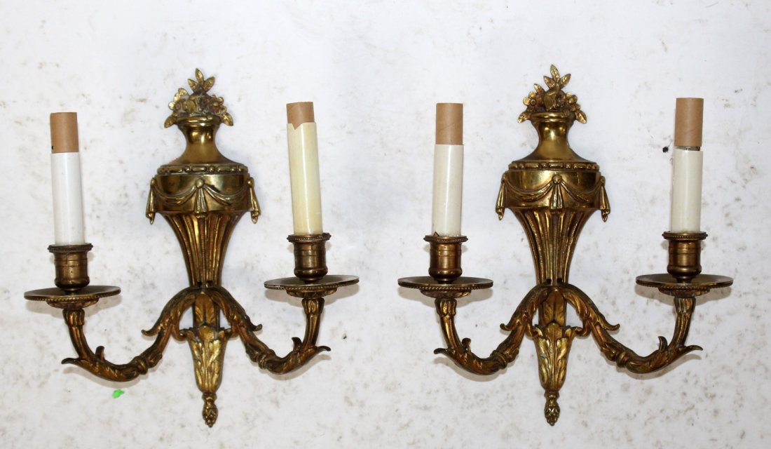 Pair French Louis XVI style brass sconces - 4