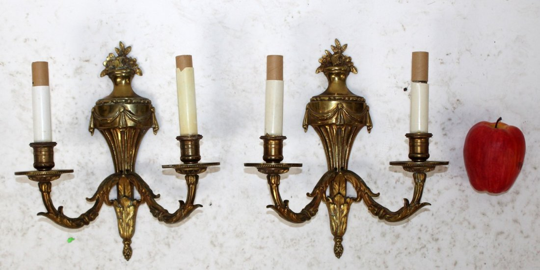 Pair French Louis XVI style brass sconces - 5