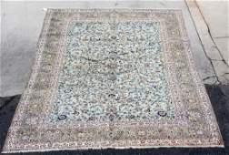 "Signed Persian Kashan wool rug 9'1"" x 13'"
