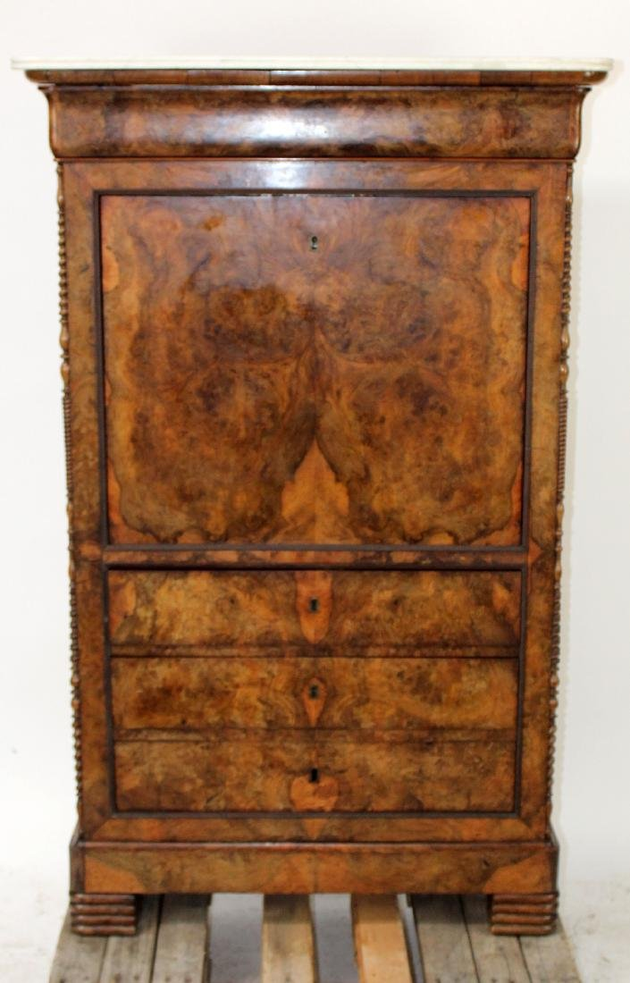 French Louis Philippe burled walnut abattant secretary