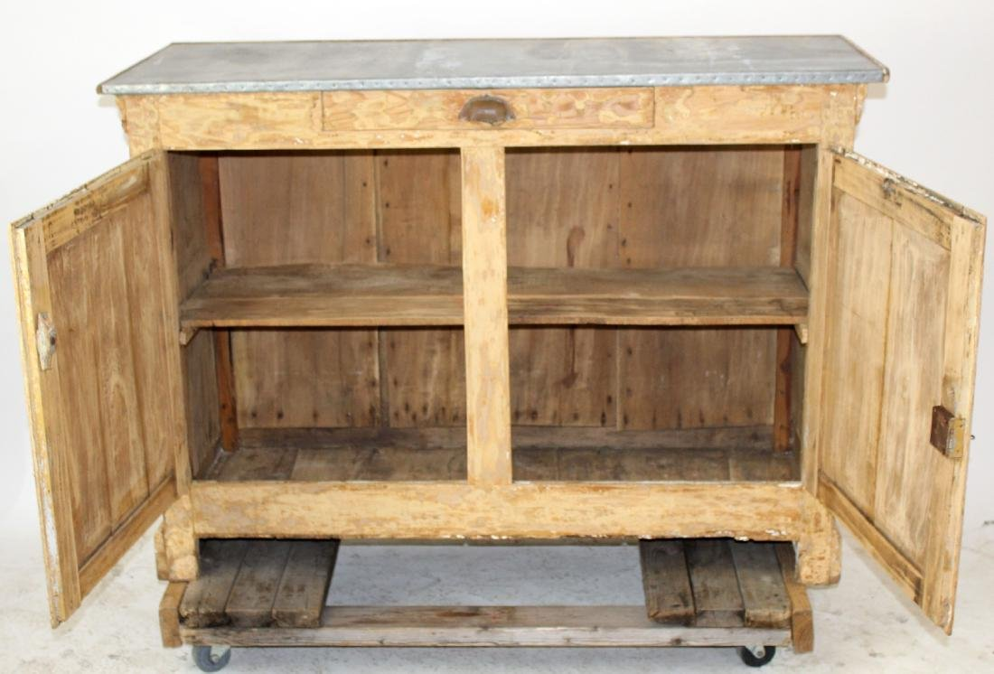 French zinc top store counter in pine - 2