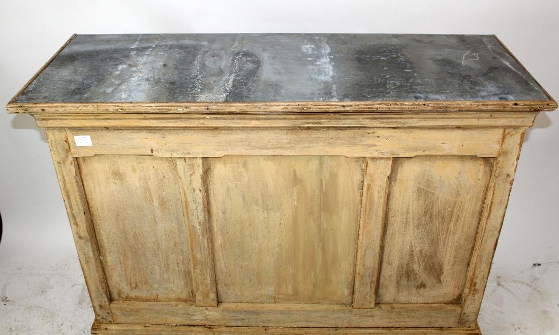 French zinc top store counter in pine - 3