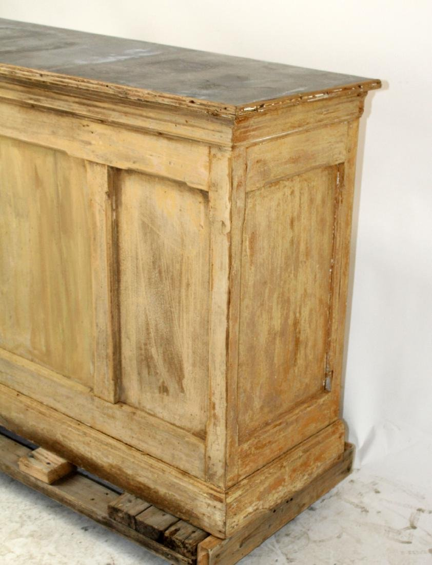 French zinc top store counter in pine - 4