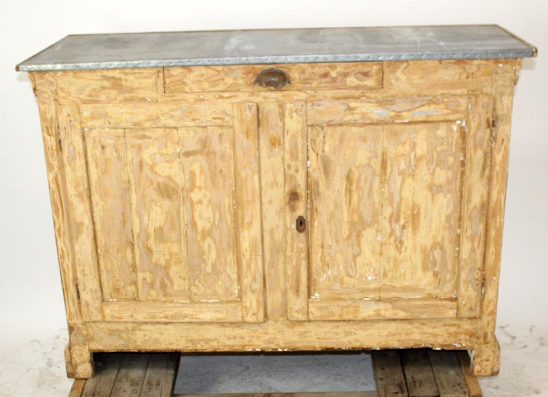 French zinc top store counter in pine - 5