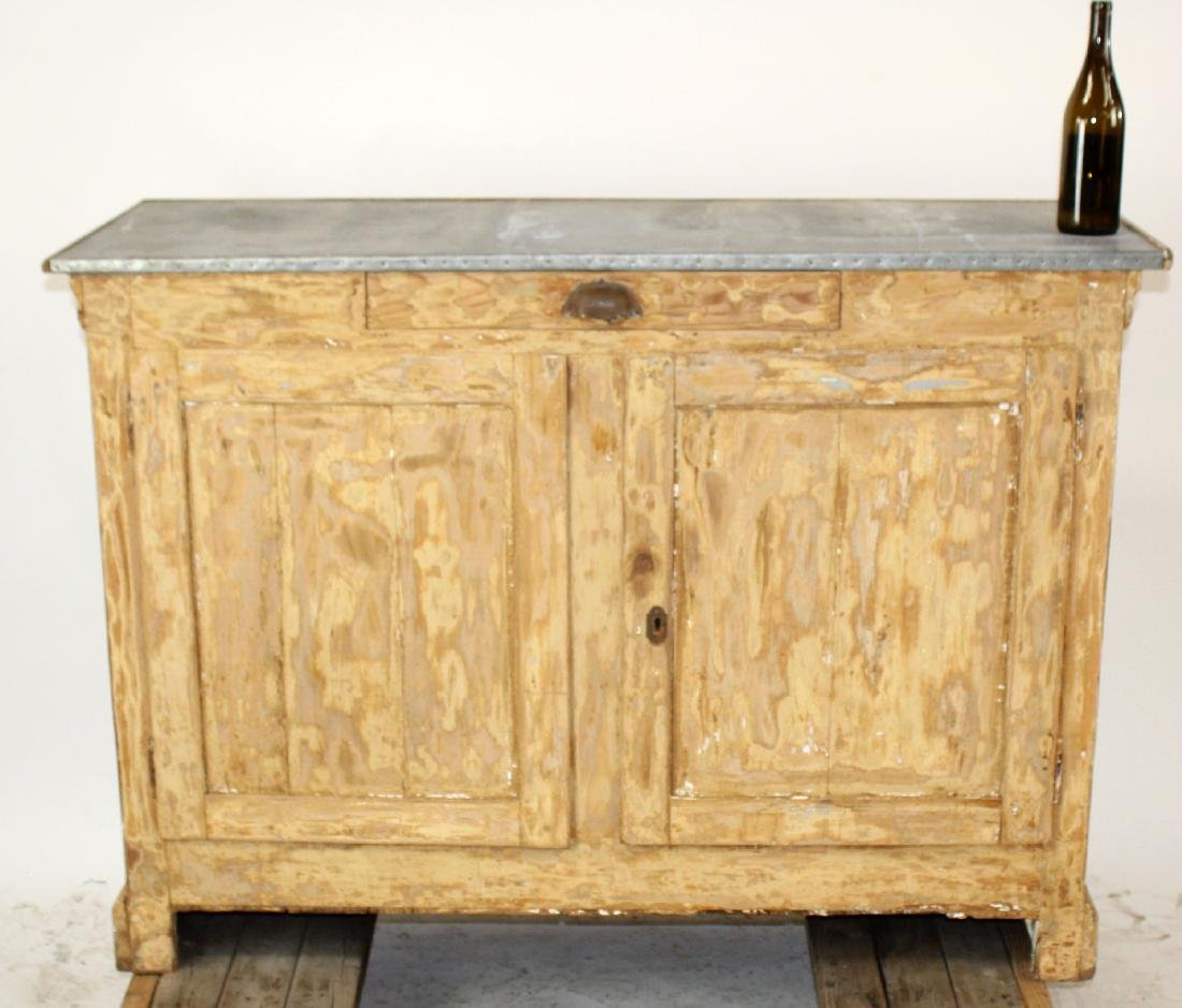 French zinc top store counter in pine - 6