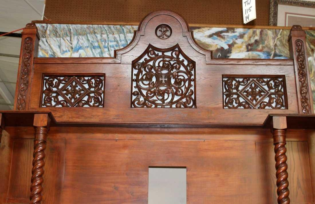 Grand scale oak Gothic style mantel - 3