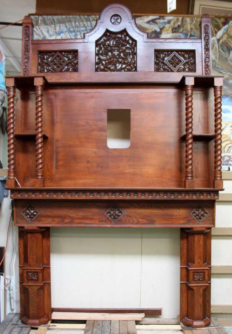 Grand scale oak Gothic style mantel - 4
