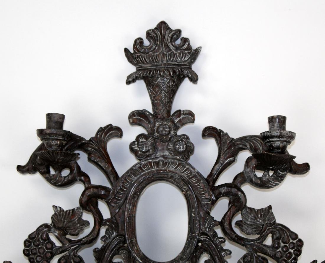 Guildmaster carved candle wall sconce - 3