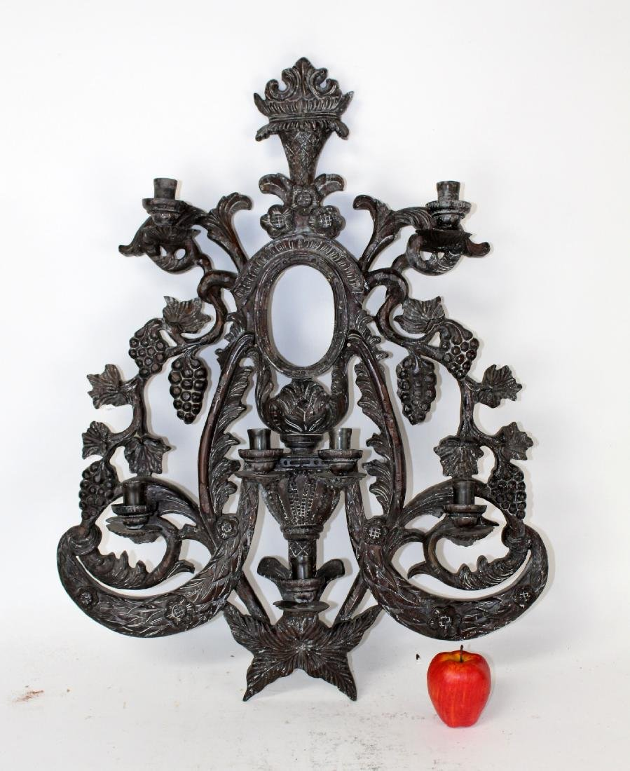 Guildmaster carved candle wall sconce - 5