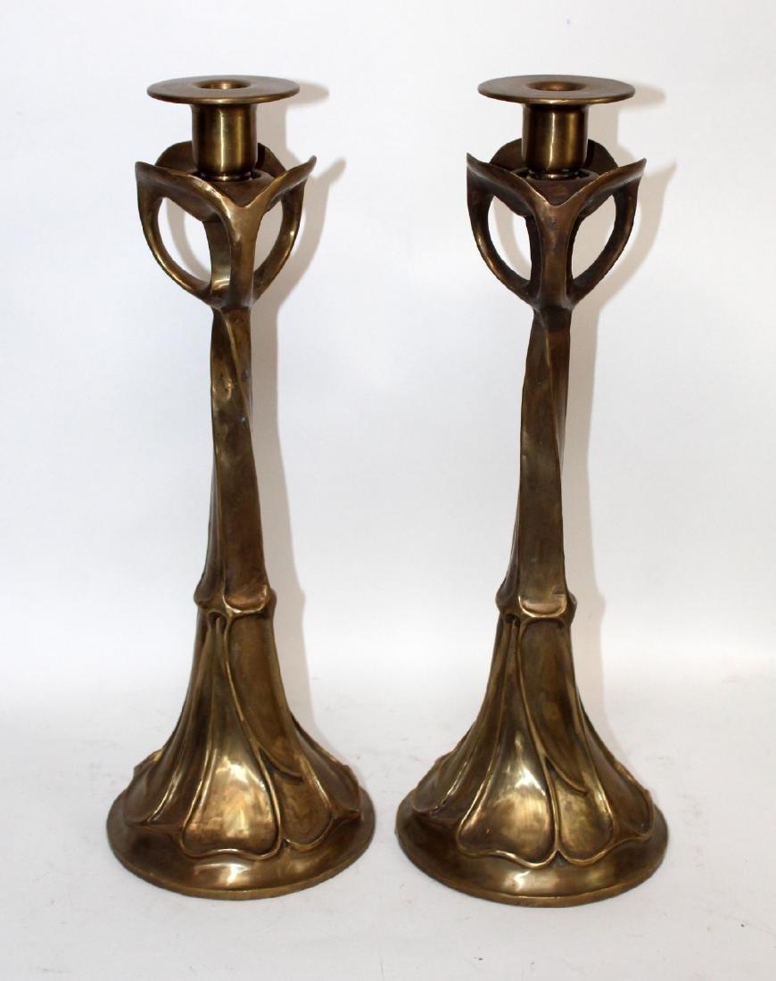 Maitland Smith  polished bronze candlesticks