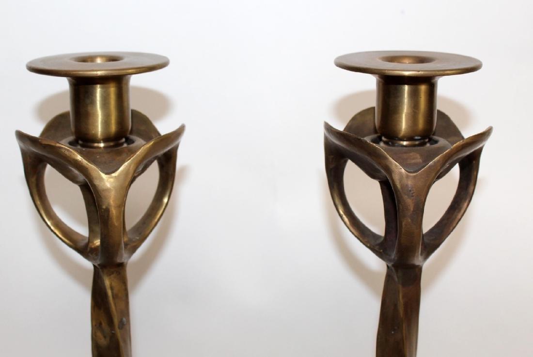 Maitland Smith  polished bronze candlesticks - 4