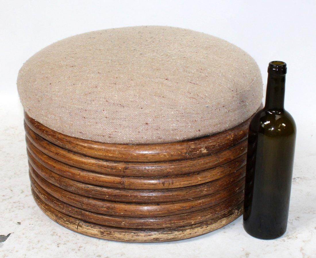 Mid century bamboo foot stool - 4