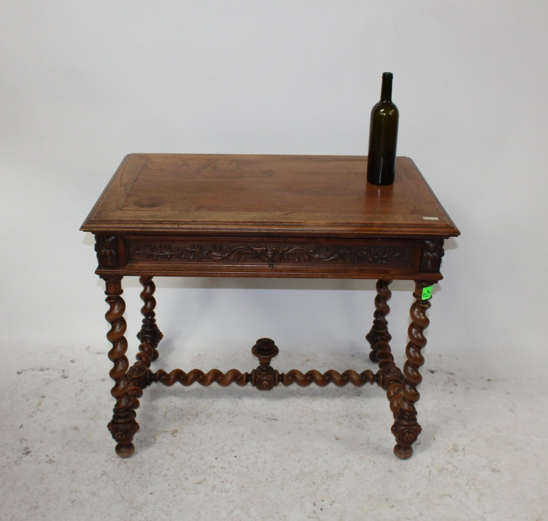 French carved walnut bureauplat desk with barley twist