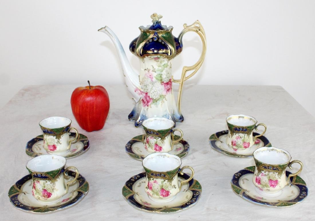 RS Prussia porcelain demi-tasse set for 6