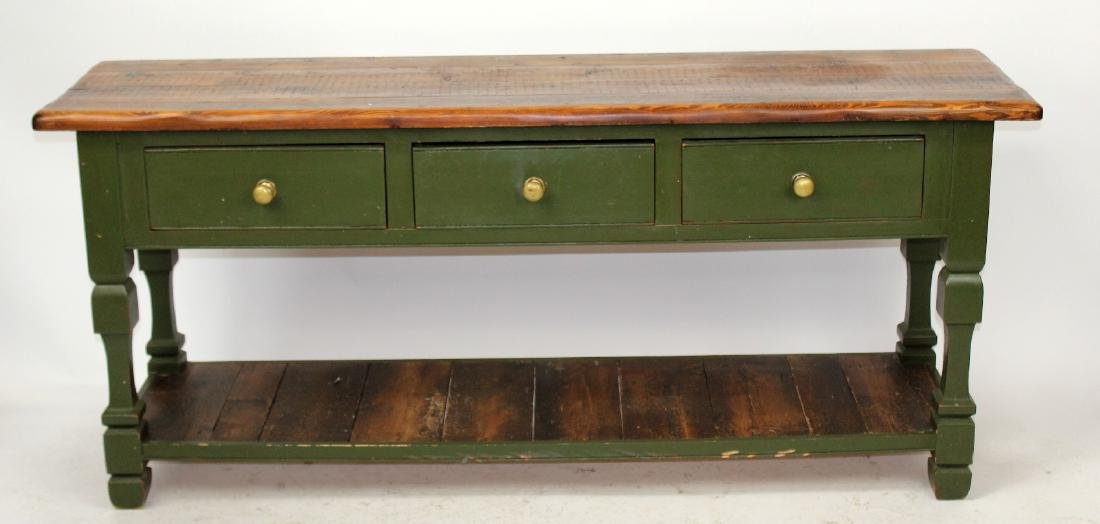 Rustic plank top console with drawers