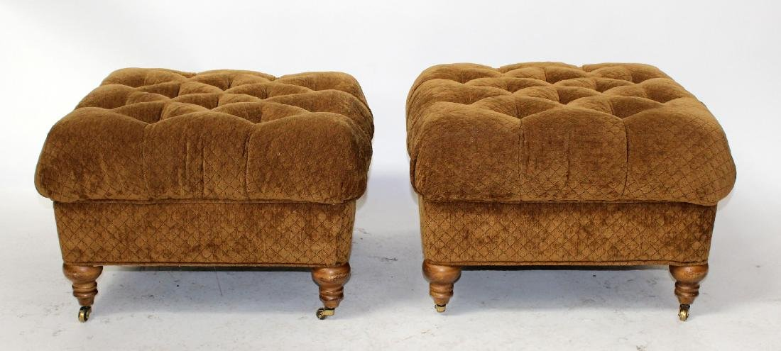 Pair of tufted ottomans