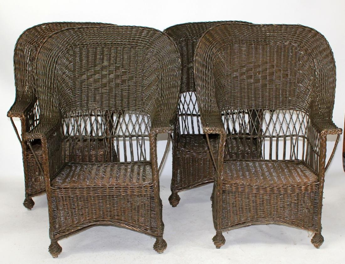 Set of 4 wicker armchairs