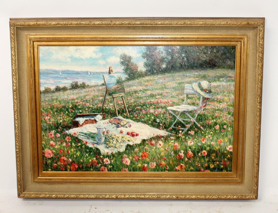 Oil on canvas picnic in a poppy field signed Harris