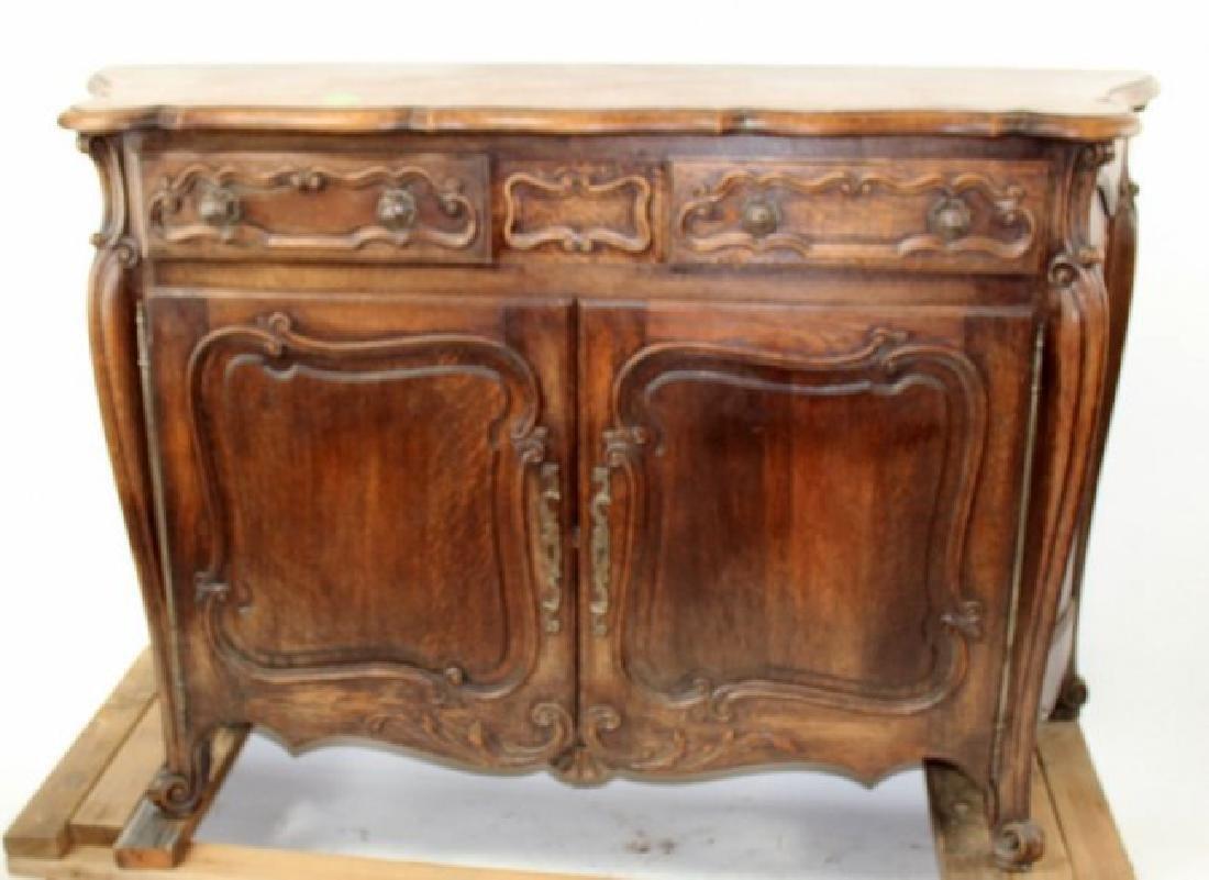 French Louis XV buffet bas in carved oak
