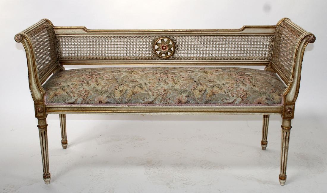French Louis XVI style caned settee
